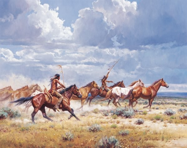 Martin GrelleRunning With The Elkdogs By Martin Grelle Giclee On Canvas  Signed & Numbered