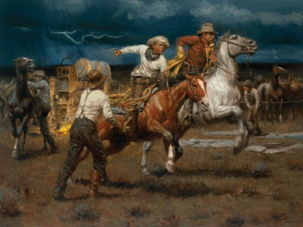 Andy Thomas Stampede! Stampede! By Andy Thomas Giclee On Canvas  Signed & Numbered