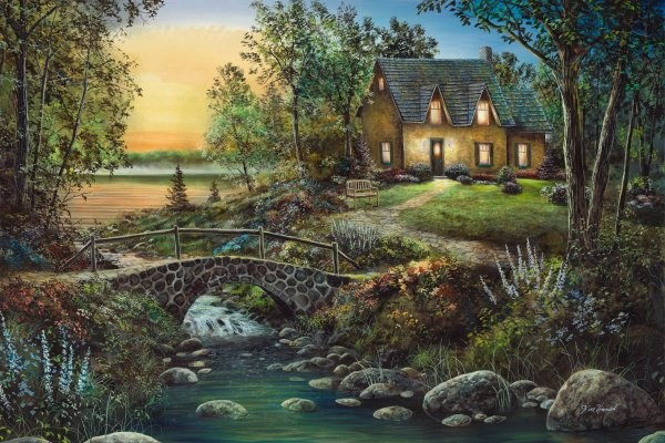 Jim Hansel Stonybrook Cottage By Jim Hansel Giclee On Canvas  Artist Proof