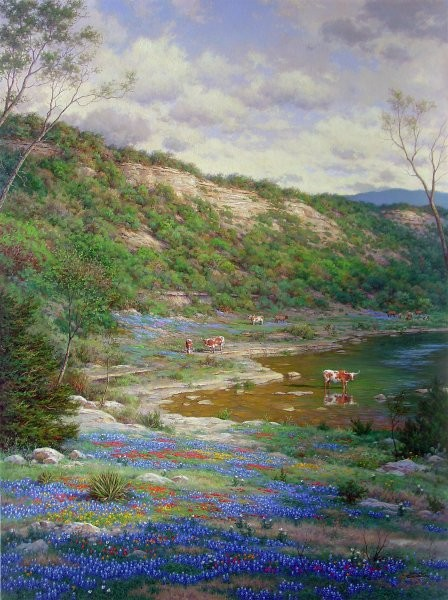 Larry Dyke Texas Spring By Larry Dyke Giclee On Canvas  Signed & Numbered