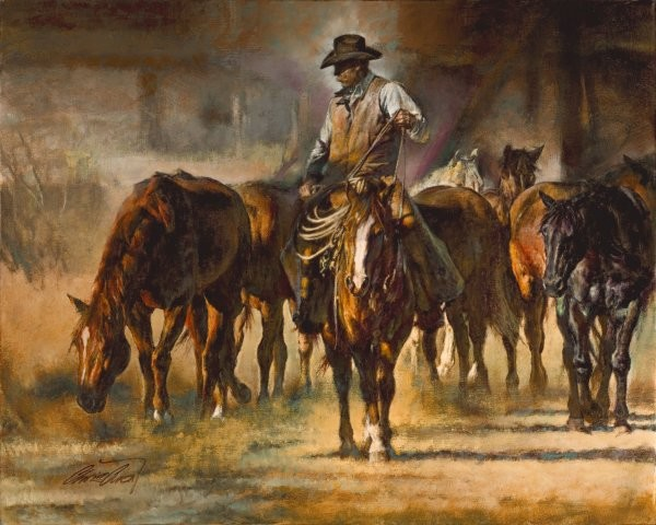 Chris  Owen The Horse Wrangler By Chris Owen Giclee On Canvas  Signed & Numbered