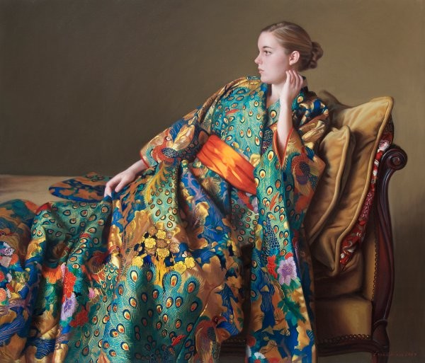 Evan Wilson The Peacock Kimono By Evan Wilson Giclee On Canvas  Grande Edition Artist Proof