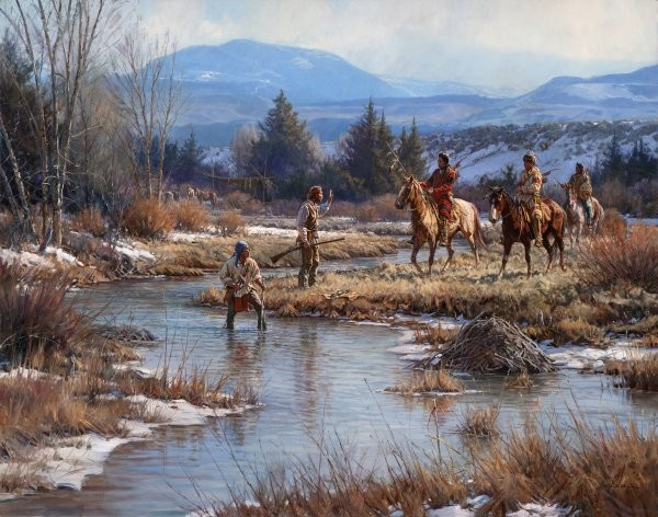 Martin GrelleTrappers In The Wind Rivers By Martin Grelle Giclee On Canvas  Signed & Numbered