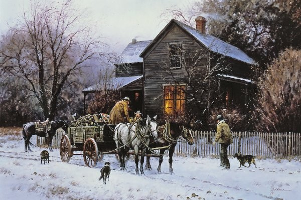 Martin Grelle Wagonload Of Warmth By Martin Grelle Canvas  Artist Proof