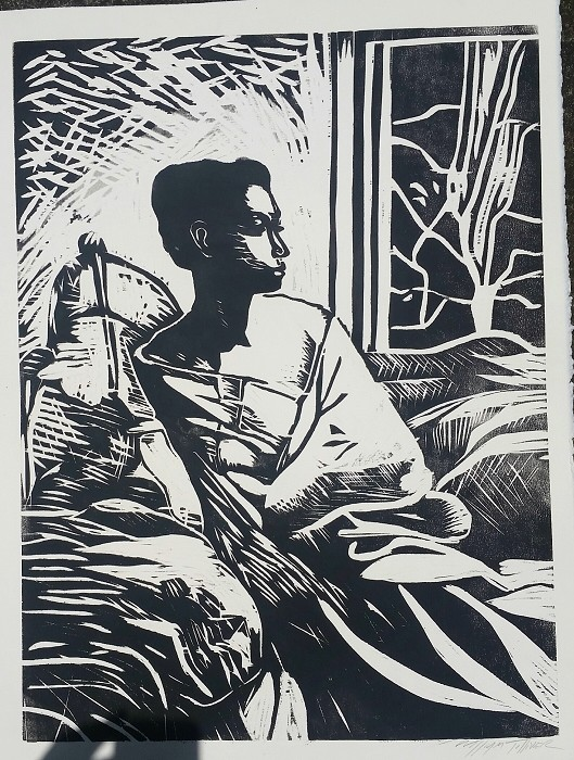 William Tolliver Etching Contemplation Artist Signed