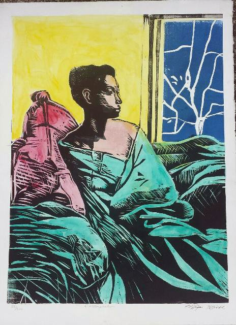 William Tolliver Contemplation Hand colored woodcut Artist Signed