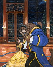 First Dance Hand Embellished Giclee on Canvas - From Disney Beauty and The Beast