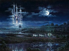 Moonlit Castle Hand Embellished Giclee on Canvas