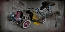 Rat Rod 80 Deluxe Hand Embellished Giclee On Canvas