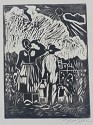 Field Workers Woodcut Paper Artist Signed