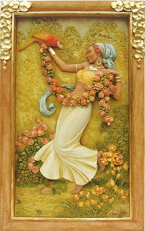 Ebony Visions - Rose Beauty Relief Wall Panel