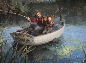 The Fishing Hole MASTERWORK EDITION ON by Morgan Westling Image is watermarked for copyright protection and is not present on the actual art work.