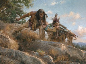 Lakota Hunters by Morgan Westling Image is watermarked for copyright protection and is not present on the actual art work.