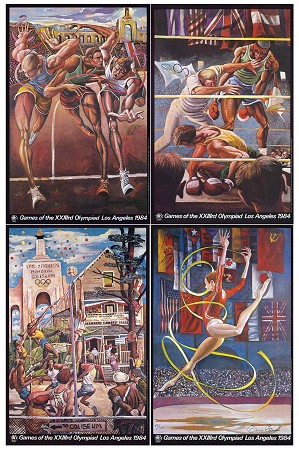 Ernie Barnes - Ernie Barnes 1984 Limited Edition Olympic Series Matched Numbered Set Hand Signed in Pencil