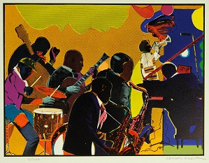 Romare Bearden - Out Chorus 1978 Signed Print Color Etching