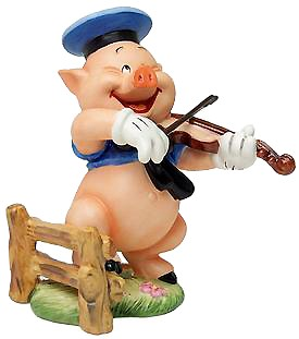 Lladro Three Little Pigs Fiddler Pig Hey Diddle Diddle I Play On My Fiddle-453054685