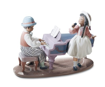 JAZZ DUO by Lladro Black Legacy Image is watermarked for copyright protection and is not present on the actual art work.