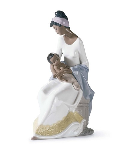 A MOTHER'S EMBRACE by Lladro Black Legacy Image is watermarked for copyright protection and is not present on the actual art work.