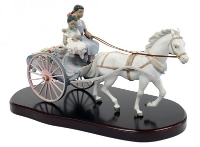 FLOWER WAGON by Lladro Black Legacy Image is watermarked for copyright protection and is not present on the actual art work.