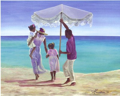 Day At The Beach by Gamboa Image is watermarked for copyright protection and is not present on the actual art work.