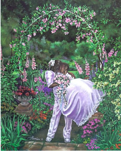 The Wedding Kiss by Gamboa Image is watermarked for copyright protection and is not present on the actual art work.