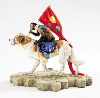 K9 And Monkeyshine Jamboree Figurine by Ebony Visions Image is watermarked for copyright protection and is not present on the actual art work.