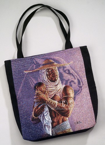 Protector Tote Bag by Ebony Visions Image is watermarked for copyright protection and is not present on the actual art work.