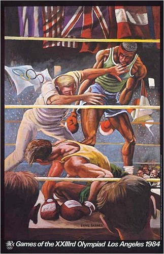 Olympic Boxing Signed Limited Edition Pencil Signed by Ernie Barnes Image is watermarked for copyright protection and is not present on the actual art work.