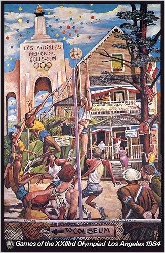 Neighborhood Games Signed Limited Edition by Ernie Barnes Image is watermarked for copyright protection and is not present on the actual art work.