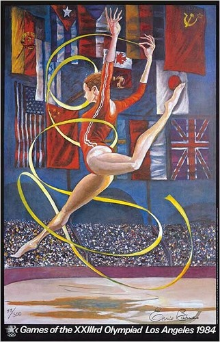 Olympic Gymnast Signed Limited Edition by Ernie Barnes Image is watermarked for copyright protection and is not present on the actual art work.