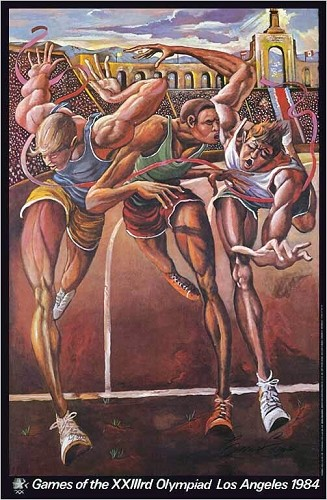 The Finish Olympic Track Signed Limited Edition by Ernie Barnes Image is watermarked for copyright protection and is not present on the actual art work.