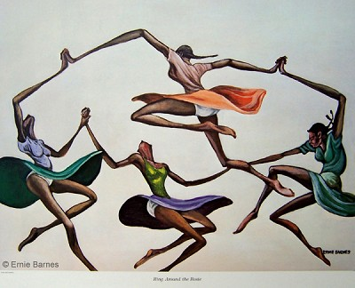 Ring Around The Rosie-Signed by Ernie Barnes Image is watermarked for copyright protection and is not present on the actual art work.