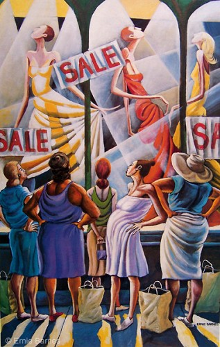 Window Wishing-Signed by Ernie Barnes Image is watermarked for copyright protection and is not present on the actual art work.