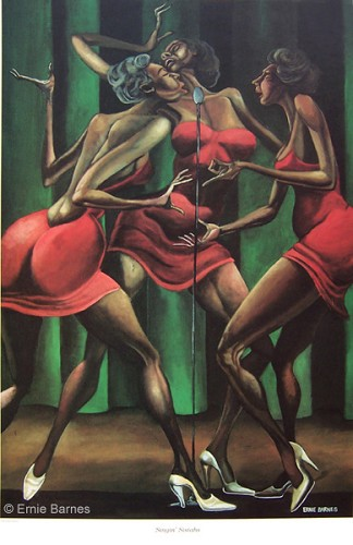 Singin Sistahs-Signed by Ernie Barnes Image is watermarked for copyright protection and is not present on the actual art work.