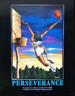 Perseverance-Unsigned by Ernie Barnes Image is watermarked for copyright protection and is not present on the actual art work.