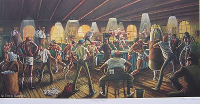 Boxing Gym by Ernie Barnes Image is watermarked for copyright protection and is not present on the actual art work.