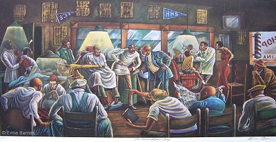 The Palace Barber Shop Artist Signed by Ernie Barnes Image is watermarked for copyright protection and is not present on the actual art work.
