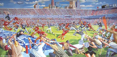 Victory In Overtime Signed by Ernie Barnes Image is watermarked for copyright protection and is not present on the actual art work.