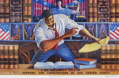 The Advocate by Ernie Barnes Image is watermarked for copyright protection and is not present on the actual art work.
