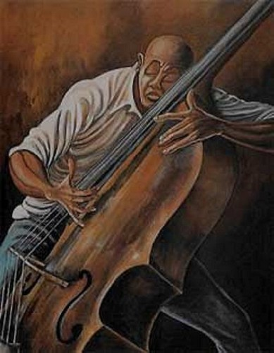 The Bassist by Ernie Barnes Image is watermarked for copyright protection and is not present on the actual art work.