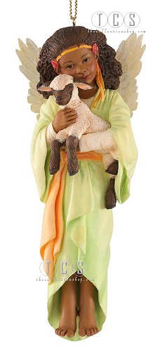 Loving Lamb 2010 Annual Ornament by Ebony Visions Image is watermarked for copyright protection and is not present on the actual art work.