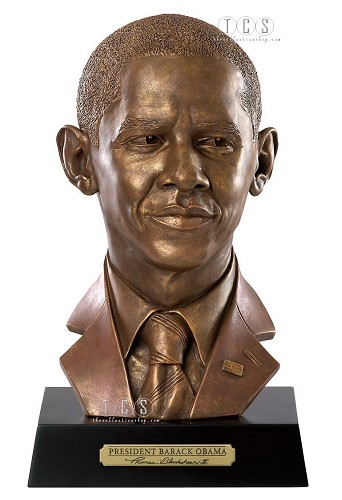 President Barack Obama Bust Presidential Edition by Ebony Visions Image is watermarked for copyright protection and is not present on the actual art work.