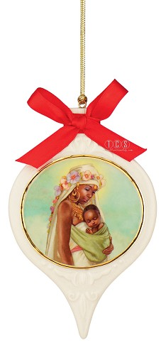 The Madonna Ornament Porcelain by Ebony Visions Image is watermarked for copyright protection and is not present on the actual art work.