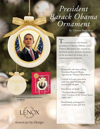 President Obama Ornament by Ebony Visions Image is watermarked for copyright protection and is not present on the actual art work.