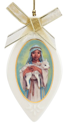 The Young Shepherd Ornament by Ebony Visions Image is watermarked for copyright protection and is not present on the actual art work.
