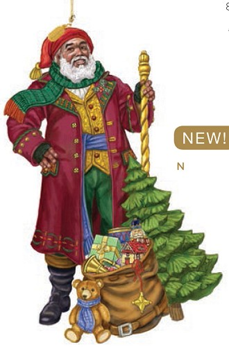 Father Christmas 2016 Ornament by Lenox Ebony Visions Image is watermarked for copyright protection and is not present on the actual art work.