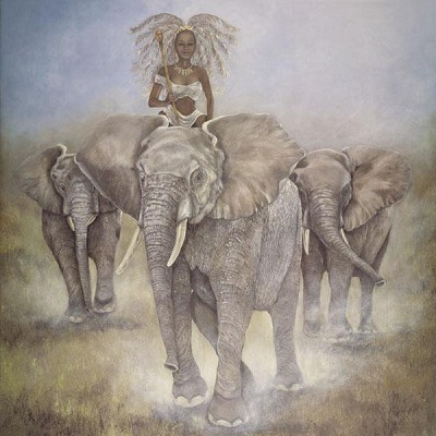 Matriarch Of Africa by Gamboa Image is watermarked for copyright protection and is not present on the actual art work.