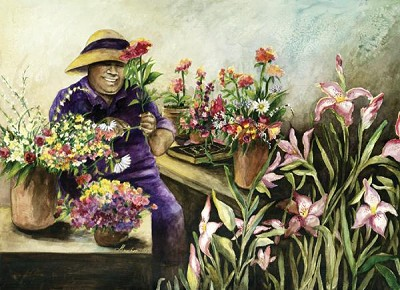 May Flowers by Gamboa Image is watermarked for copyright protection and is not present on the actual art work.