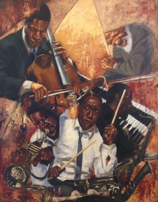 Let The Rhythm Hit ''em by Alonzo Adams Image is watermarked for copyright protection and is not present on the actual art work.