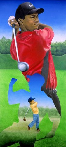 Tiger Woods Giclee by Terry Wilson Image is watermarked for copyright protection and is not present on the actual art work.